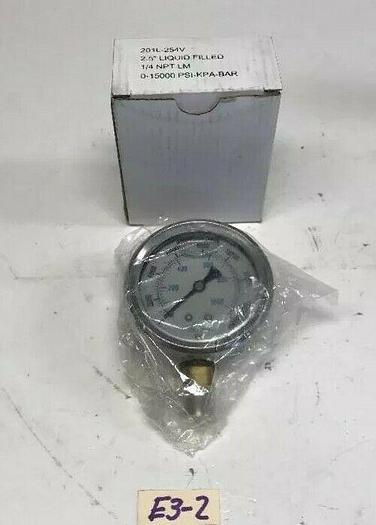 "New Liquid Fluid Pressure Gauge 201L-254V 2-1/2"" 1/4 NPT 1500 Psi  Warranty!"