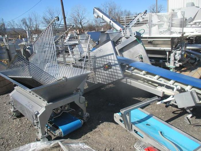 Used SS Incline Conveyor w/Feed Hopper; Md#OLF0112-35