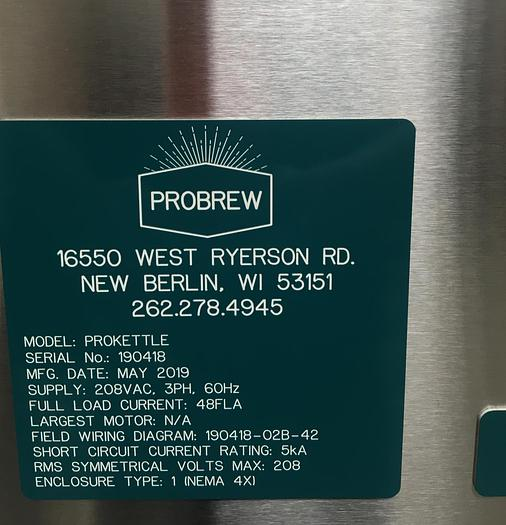 340 Gallon Stout & Probrew Stainless Steel Kettle System