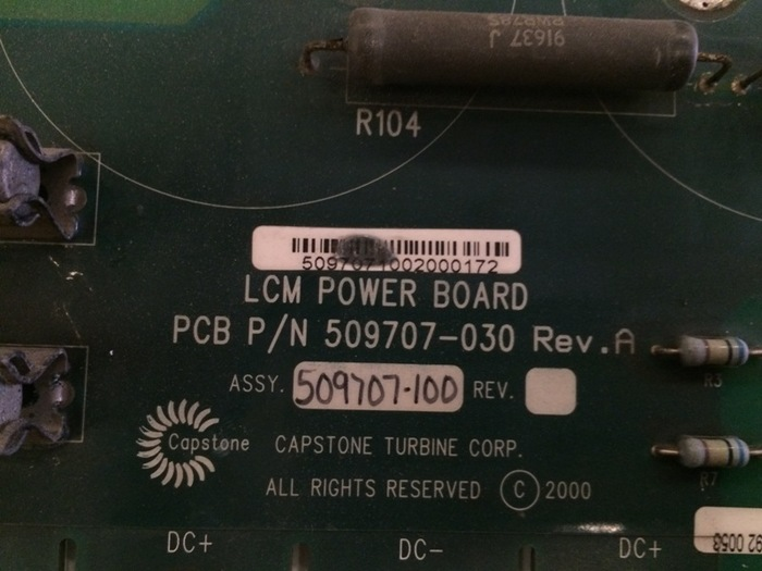 Capstone Turbine LCM Power Board for C60 Microturbine (P/N 509707-030)