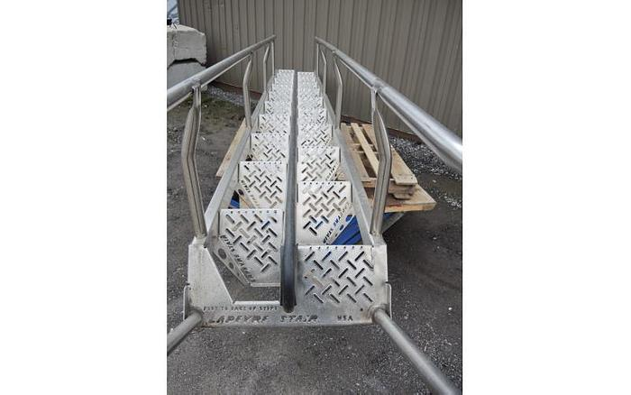 USED STAIR CASE, ALL STAINLESS STEEL CONSTRUCTION, 2' WIDE X 18' HIGH