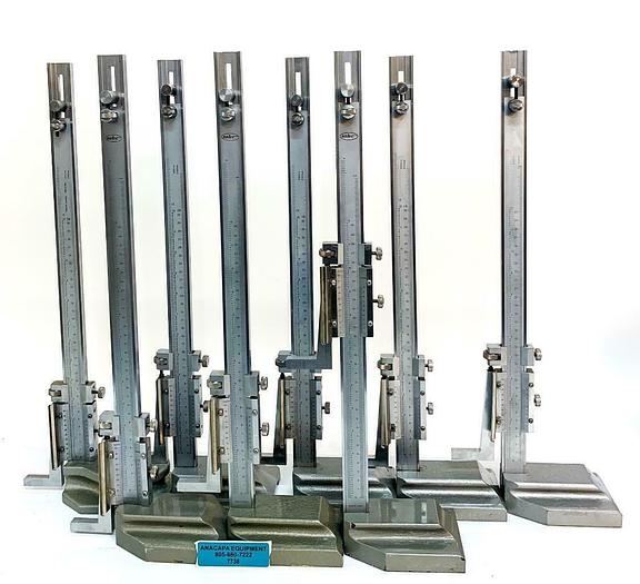 "Used MHC Vernier Height Gages, 622-8232 12"" Range 0.001"" Gradation, Lot of 8 (7738)W"