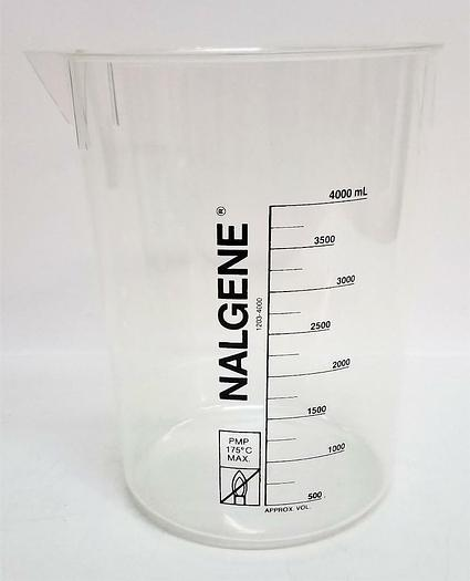 Thermo Scientific Nalgene 1203-4000 PMP Beaker 4000mL NEW LOT of 4 (4902)
