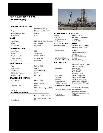 Used Fast Moving 1500 HP SCR Land Drilling Rig.