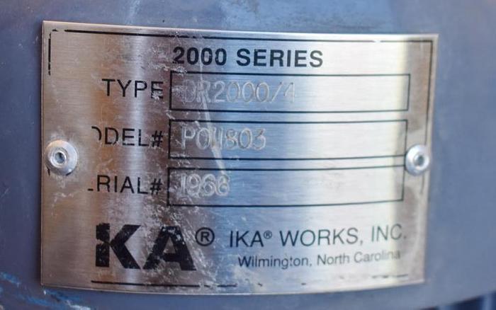 USED IKA DISPAX REACTOR HOMOGENIZER, DR2000/4