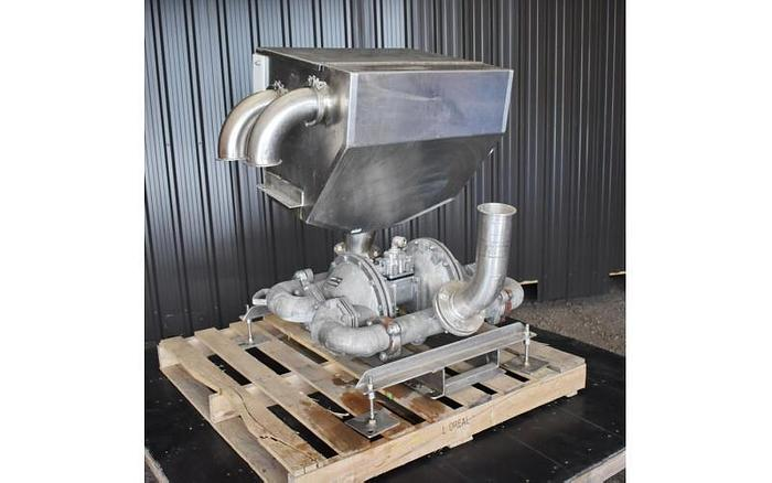 Used USED SANDPIPER DIAPHRAGM PUMP, ALUMINUM, HEAVY DUTY FLAP VALVE, WITH STAINLESS STEEL CHUTE