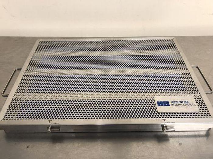Used Ophthalmic John Weiss Case Sterilisation Stainless Steel Perforated  385 by 270 by 30mm