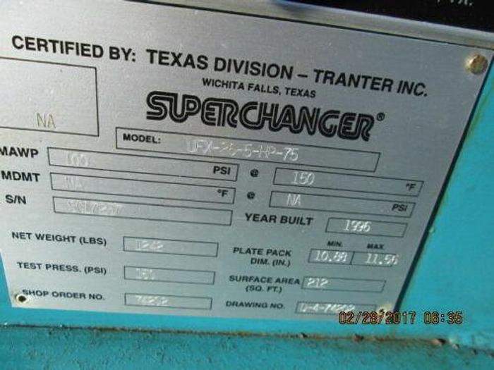 TRANTER SUPERCHANGER 212 SQ. FOOT SS HEAT EXCHANGER MODEL UFX-26-5-HP-75