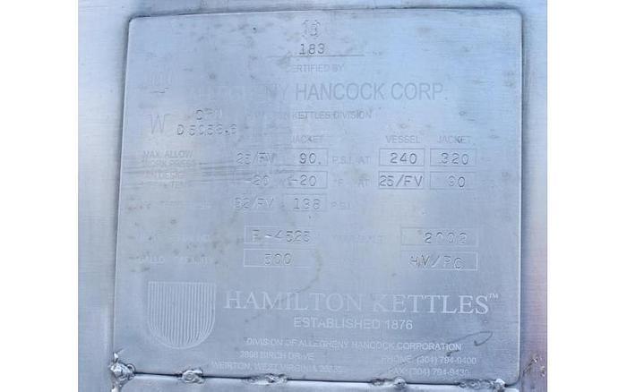 USED 500 GALLON JACKETED TANK (KETTLE), HAMILTON, EVAPORATOR / FULL VACUUM