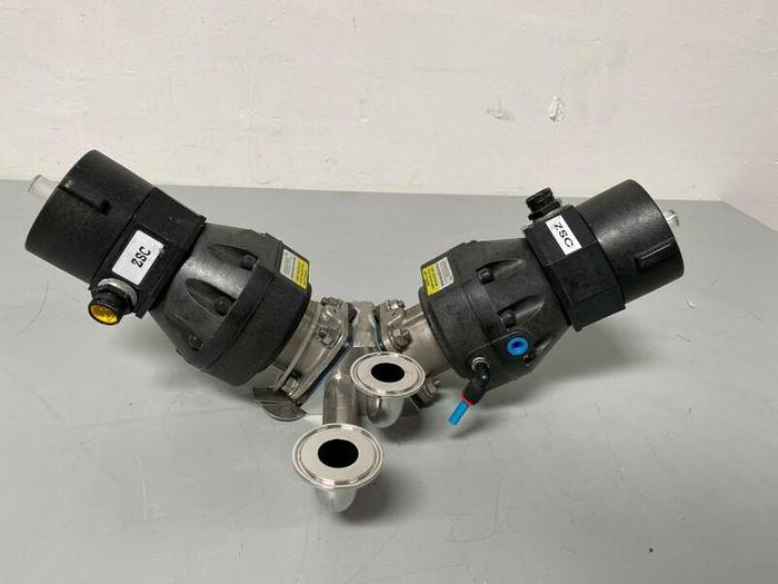 """Used ITT Pure-Flo A209 3-way Stainless Steel Valves w/  Position Monitors & 2"""" Fit"""