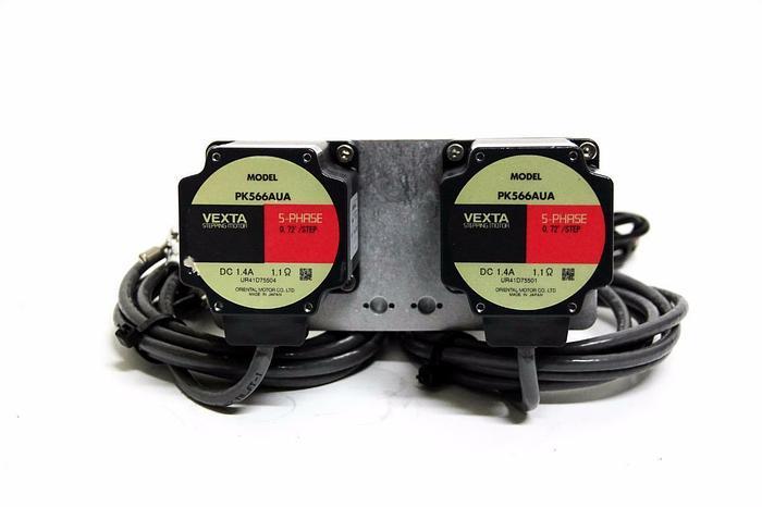 Used Oriental Motor Vexta PK566AUA 5-Phase 0.72 Stepping Motor Pair w/ Encoders (4264
