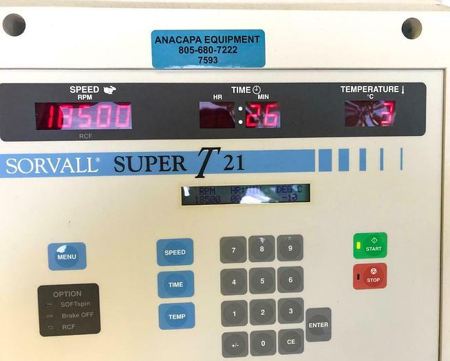Used Sorvall Super-T21 Refrigerated Benchtop Centrifuge & Sorvall Sl-50T Rotor (7593)