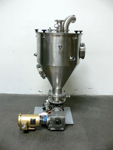 Used Industrial Powder Hopper w/ SEW-Eurodrive SAF67 AM143 Gear Reducer & 1HP Motor
