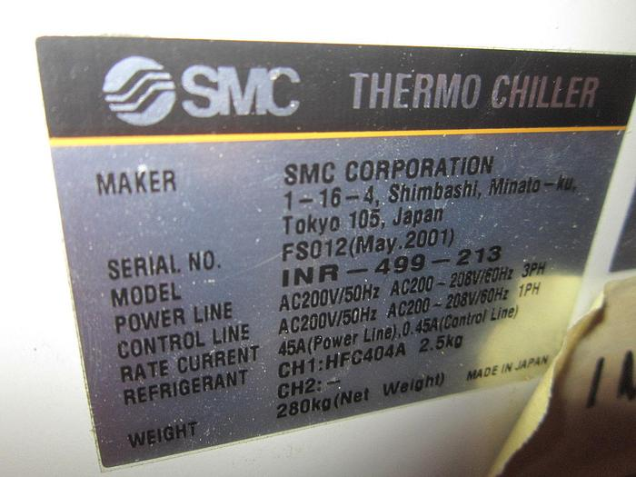 SMC INR-499-213-X020 RECIRCULATING WATER COOLED CHILLER