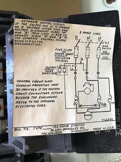 Allen Bradley Combination Fusible Starters 480 Volts, 60 HZ. 712-EAB 27