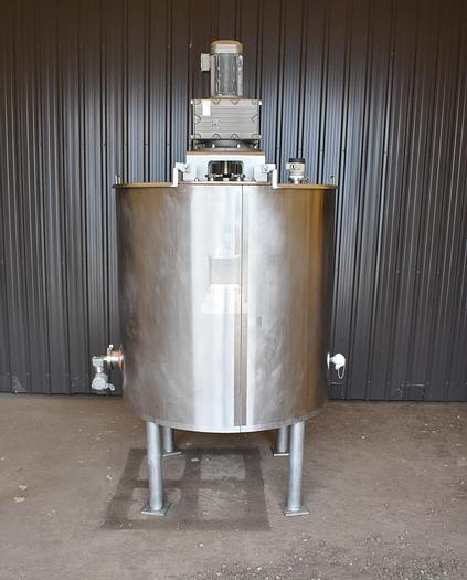 Used USED 400 GALLON JACKETED TANK, 316L STAINLESS STEEL, WITH 10 HP SCRAPE AGITATION