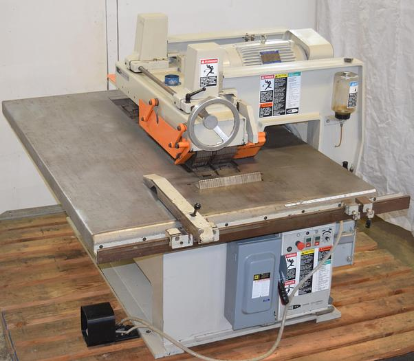 Used DIEHL SL-60 straight line bottom arbor chain infeed ripsaw, variable infeed speed controller