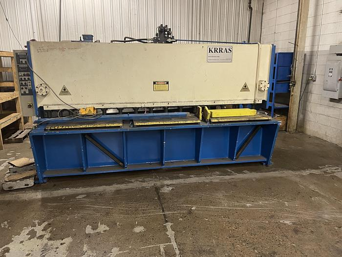 "Used KRRAS 10' X 1/4"" HYDRAULIC POWER SQUARING SHEAR WITH POWER FRONT OPERATED BACK GAUGE AND POWER ADJ. RAKE"