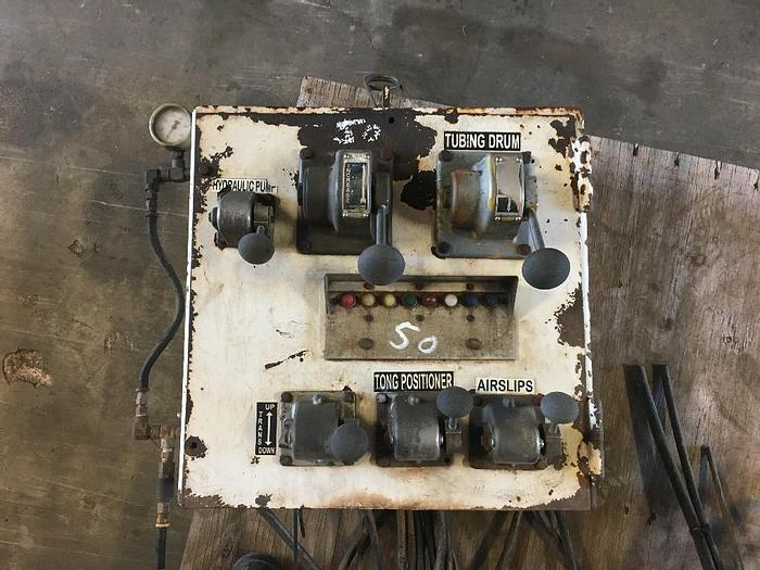 USED WORKOVER RIG CONTROL PANEL TUBING DRUM CONTROL, TONGS, AIR SLIPS, HYDRAULIC PUMP CONTROL.