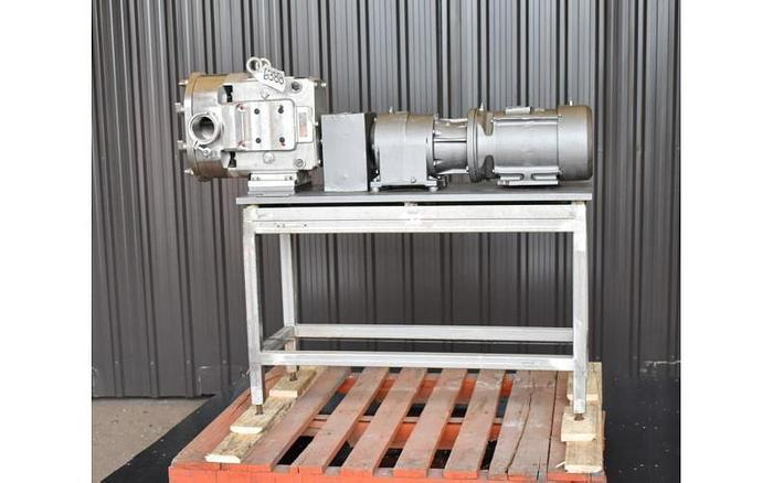 USED AMPCO ROTARY LOBE PUMP, STAINLESS STEEL, SANITARY