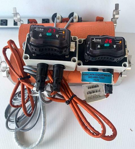 Used MKS 9899-0116 Heat Jackets, EHG2-CNTL-MKS0 Controllers, & Cables (7628) W