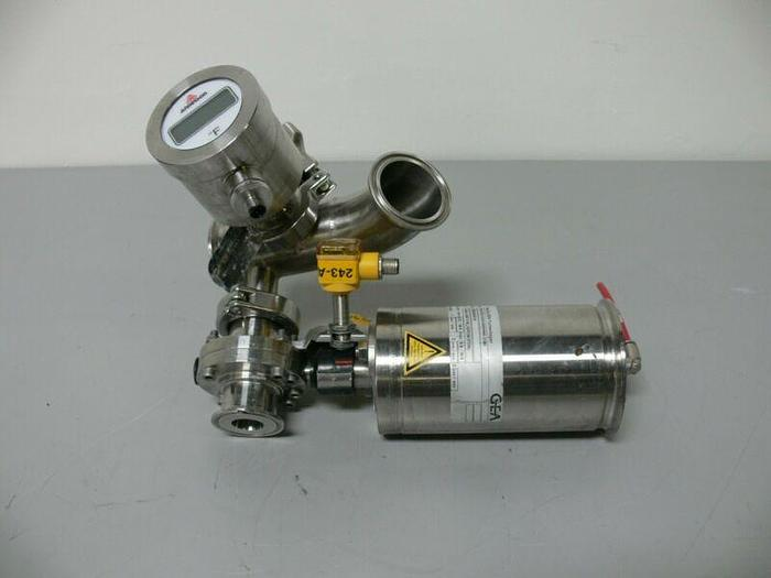 Used GEA Tuchenhagen 7330-0102-0220-0000 INK.22B0 Valve w/ Anderson Temperature Gauge