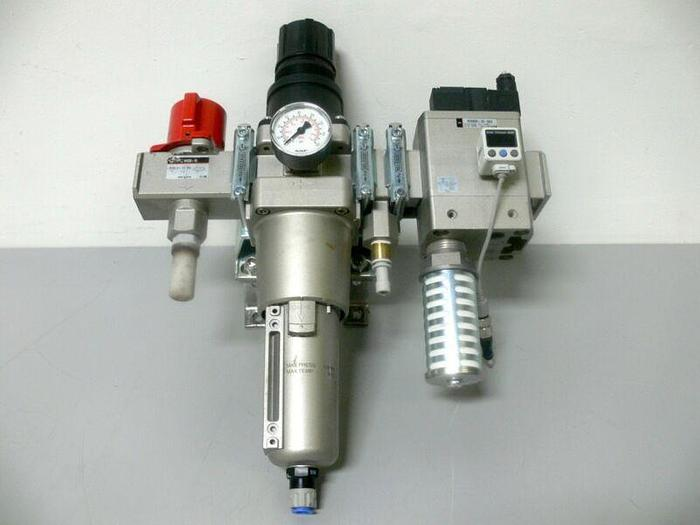 Used SMC Pressure Filter System VHS50-10, AW60-10C-2, AV5000-10-5DZ + ISE40A Switch