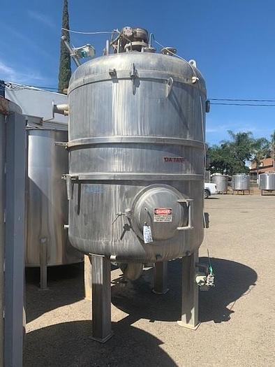 Used 1200 Gallon Vertical Stainless Steel Dearator Vacuum Juice Tank