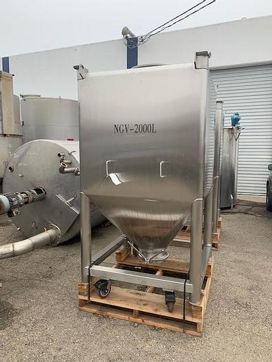 Used NGV 2,000 Liter (528Gallon)Stainless Steel Square Vertical Tote