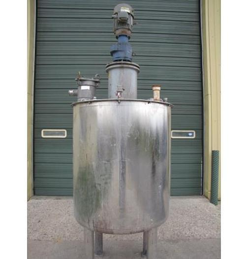USED 275 GALLON TANK, STAINLESS STEEL, WITH 2 HP MIXER