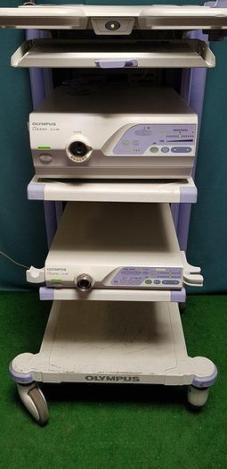 Gebraucht Olympus Workstation 260 mit Lichtquelle CLV-260 Steuerungseinheit Lucera CV-260 Tastatur MAJ-1536