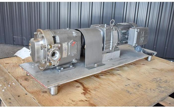 USED WAUKESHA ROTARY LOBE PUMP, MODEL 15, STAINLESS STEEL