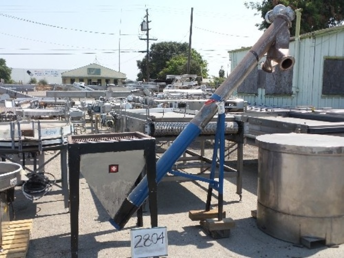 Stainless Steel Hopper Feed Tank with Screw Auger Discharge #2804