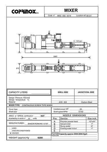 "Miscelatore BAKER PERKINS 13""/8"" da 8000 Litri"