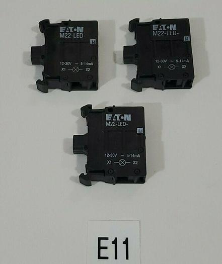 *NEW* LOT OF 3 EATON M22-LED-W WHITE LED UNIT IEC 60947-5-1 + WARRANTY!
