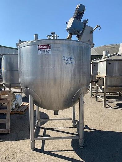 Used JC Pardo 500 Gallon Stainless Steel Jacketed Mixing Kettle with Sickle Blade Agitation