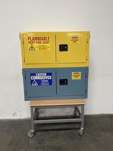 "Used Global 15 Gallon Flammable Stacked Cabinet 43""x19""x22"" w/ Global Acid Cabinet"