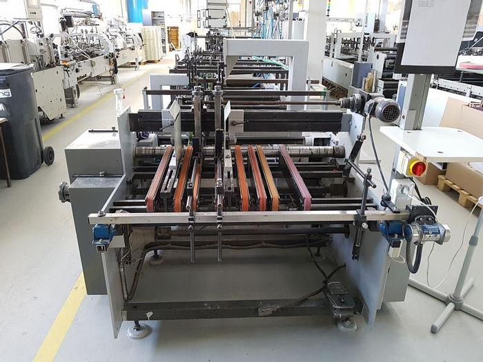 Used BOBST DOMINO 100  - 5 gluing points - crash lock - 3-layer corrugated cardboard