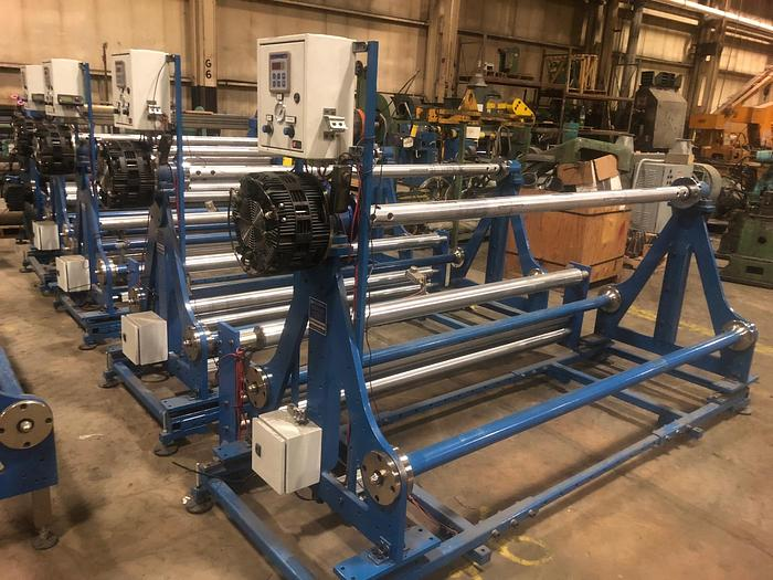 """Used 80"""" DOUBLE E SHAFTED UNWIND STANDS W/ TENSION CONTROLS MFG. 2013"""