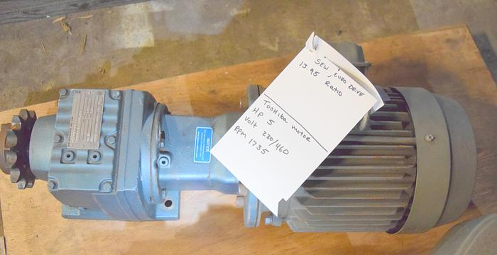 Used Sew-Eurodrive 124 rpm gearbox reducer, 5hp Toshiba gear box, used 124rpm gearbox 5 hp,