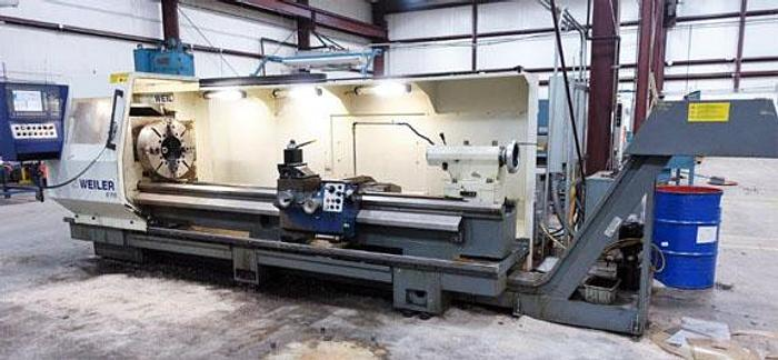 """Used 3119, Weiler, E70x3000, CNC Hollow Spindle Flat Bed Lathe, 9.5"""" Spindle Bore, 2008"""