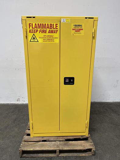 """Used JustRite BS60 60 Gallon Flammable Cabinet 65""""x 34""""x 34"""" Manual Close"""