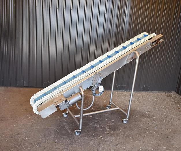 Used USED STAINLESS STEEL INCLINE CLEATED BELT CONVEYOR, 8'' WIDE X 108'' LONG