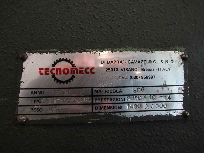 CALANDRA MECCANICA A 3 RULLI TECNOMECC TI-MV 2050x10/14