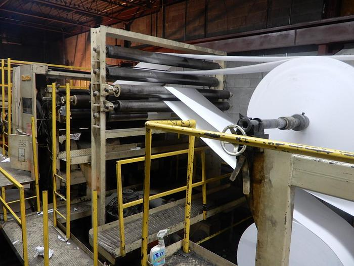 "Used 88"" (2.23M)  CLARK AIKEN SINGLE ROTARY SHEETER 4 UNWINDS AND STACKER"