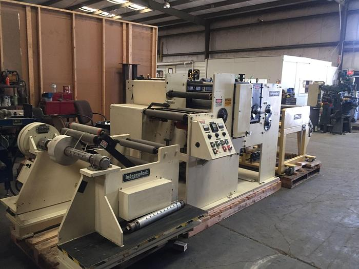 """Used 19"""" WIDE ROTARY DIE CUTTER WITH COMCO REWINDER"""