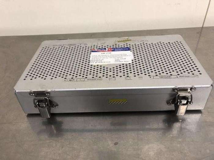 Used Case Sterilisation Aluminium 2 Clip Fastening Front and Rear Perforated Lid and Base 280 by 155 by 50mm