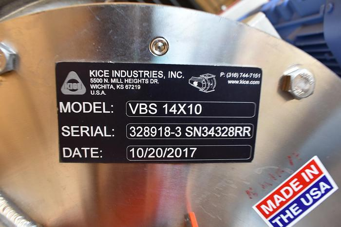 USED KICE ROTARY AIR LOCK VALVE, VBS 14X10, STAINLESS STEEL