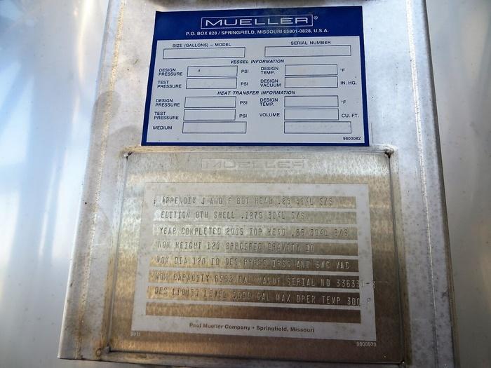 Mueller 5,000 gallon Demineralized Water  Tank