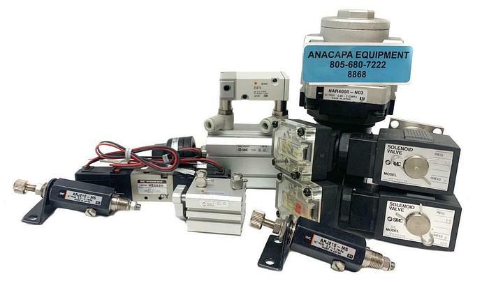 Used SMC NAR4000-N03, VX2220L Air Regulators, Solenoid Valves Mixed Lot of 10 (8868)W